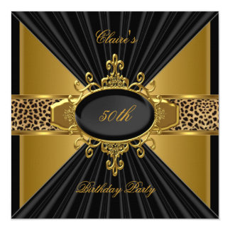 Elegant Gold Black Leopard 50th Birthday Party Invitation