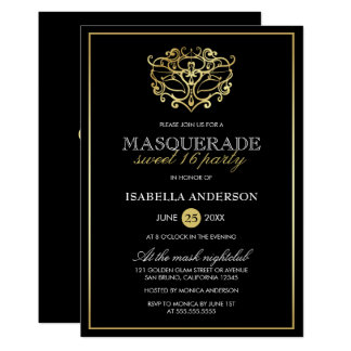 Elegant Gold & Black Masquerade Sweet 16 Party Card