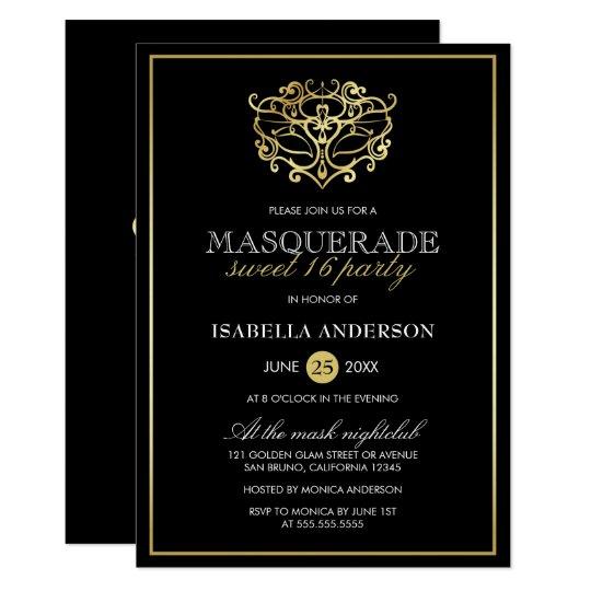 Elegant Gold & Black Masquerade Sweet 16 Party Card | Zazzle.com