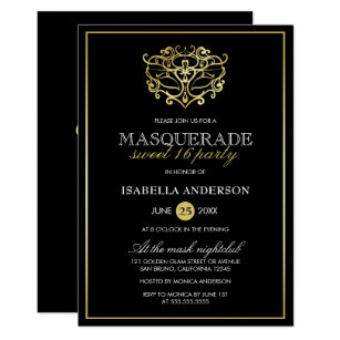 Masquerade Sweet 16 Invitations Zazzle