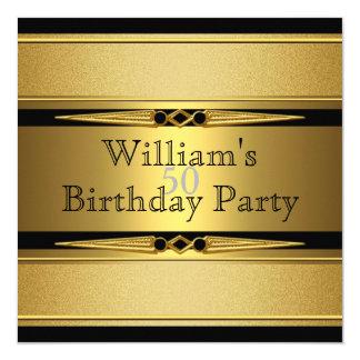 Elegant Gold Black Metal Look Birthday Party Card