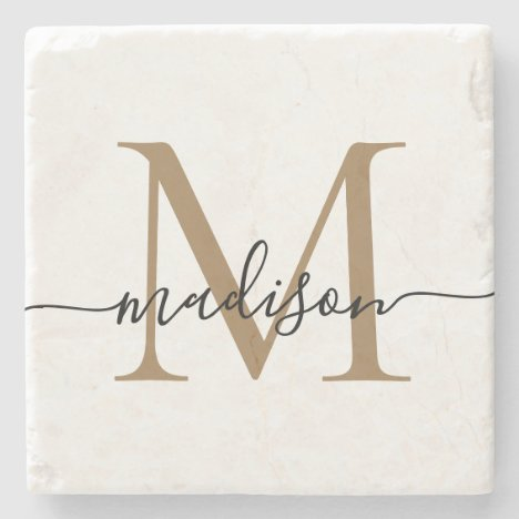 Elegant Gold Black Monogram Feminine Script Name Stone Coaster