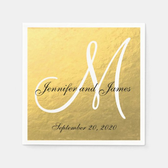 Black And Gold Beverage Napkins: Elegant Gold Black Monogram Paper Napkins