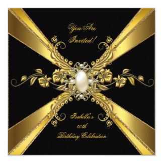 Elegant Gold Black Pearl Jewel Birthday Party 2 Card