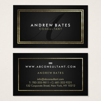 Elegant gold black professional modern monogram business card