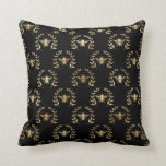 Elegant Gold & Black Queen Bee Throw Pillow