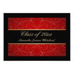 Elegant Gold/Black/Red Swirl College Graduation Card