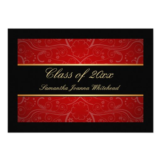 Elegant Gold/Black/Red Swirl Graduation Custom Announcements (front side)