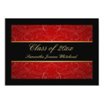 Elegant Gold/Black/Red Swirl Graduation Custom Announcements