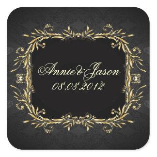 Elegant Gold black Regal formal Wedding Square Sticker
