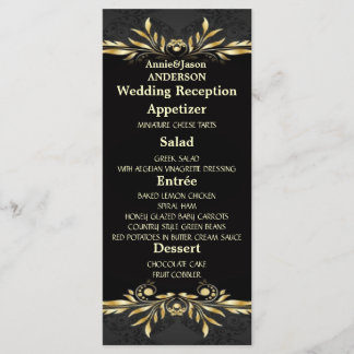 Elegant Gold black Regal Wedding Reception Menu