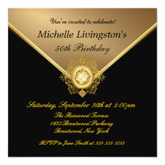 Elegant Gold Black Rhinestone Birthday Invitations