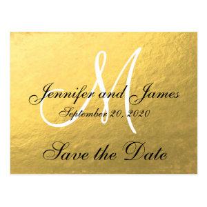 Elegant Gold Black Save the Date Postcard