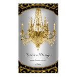 Elegant Gold Black Silver Chandelier Interior Business Cards