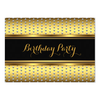Elegant Gold Black Silver Studs Birthday Party Card
