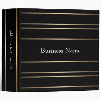 Elegant Gold Black Stripe Trim Business Binder