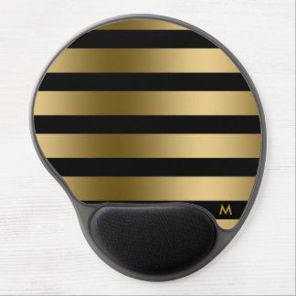 Elegant Gold & Black Stripes Gel Mouse Pad
