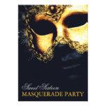 Elegant Gold Black Sweet 16 Masquerade Invitations Custom Invites