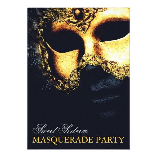 Elegant Gold Black Sweet 16 Masquerade Invitations (front side)