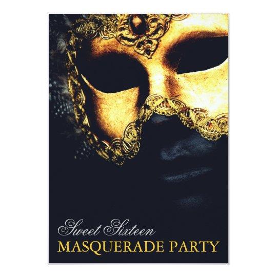 Elegant Gold Black Sweet 16 Masquerade Invitations Zazzlecom
