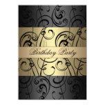 "Elegant Gold & Black Swirl Birthday Invitation 4.5"" X 6.25"" Invitation Card"