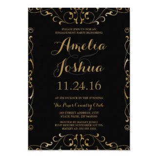 Elegant Gold Black Swirl Engagement Party Invite