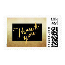 Elegant Gold Black Thank You Postage