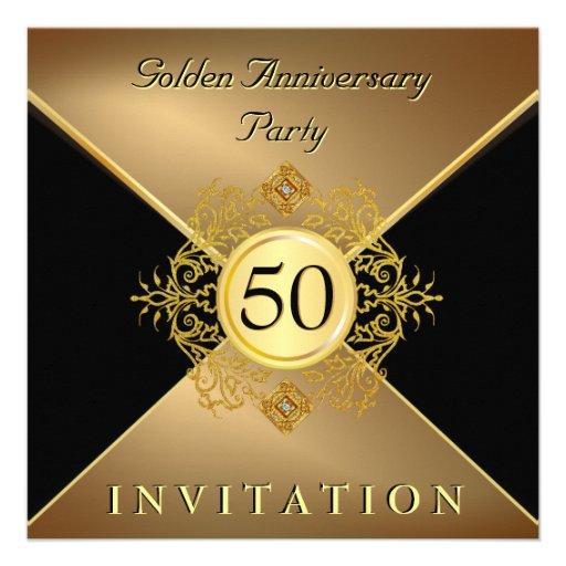 Elegant Gold Black Tie 50th Anniversary Invitation (front side)