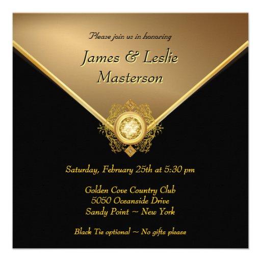 Elegant Gold Black Tie 50th Anniversary Invitation (back side)