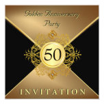 """Elegant Gold Black Tie 50th Anniversary Invitation 5.25"""" Square Invitation Card"""