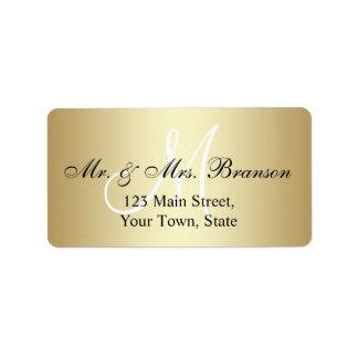 Elegant Gold Black Wedding Address Labels Monogram