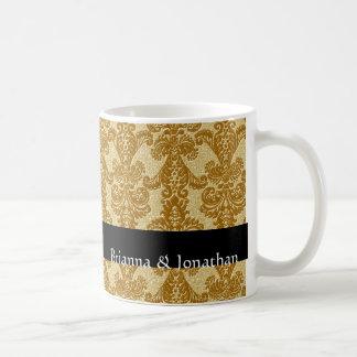 Elegant Gold & Black Wedding Damask Mug