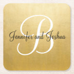 "Elegant gold black wedding gift favors - Monogram Square Paper Coaster<br><div class=""desc"">Lovely wedding gift favors for your guests at your reception.  Faux gold foil paper coasters with bride and groom&#39;s name with last name monogram initial.  See more items in wedding collection &#39;BLACK &amp; GOLD&#39;</div>"