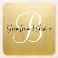 Elegant gold black wedding gift favors - Monogram Square Paper Coaster