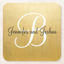 Elegant gold black wedding gift favors - Monogram Square Paper Coaster