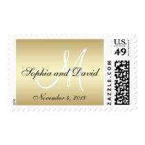 Elegant Gold Black Wedding Postage Stamp Monogram