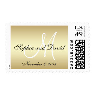 Elegant Gold Black Wedding Postage Stamp Monogram