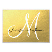 Elegant Gold Black Wedding RSVP Card with Monogram