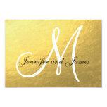 Elegant Gold Black Wedding RSVP Card with Monogram Announcement
