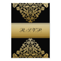 elegant gold black wedding RSVP Standard 3.5 x 5 Card