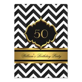 Elegant Gold Black White Chevron Birthday Party 4.5x6.25 Paper Invitation Card