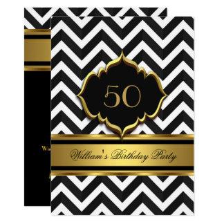Elegant Gold Black White Chevron Birthday Party Card