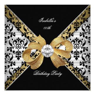 Elegant Gold Black White Damask Diamond Party Card
