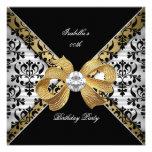 Elegant Gold Black White Damask Diamond Party Personalized Invites