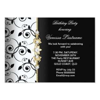 Gold Black White Damask Birthday Invitations Announcements Zazzle - Birthday invitation gold coast