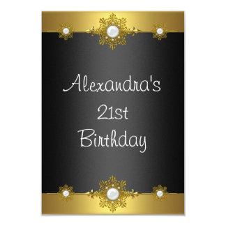 Elegant Gold Black White Jewel 21st Birthday Invitations