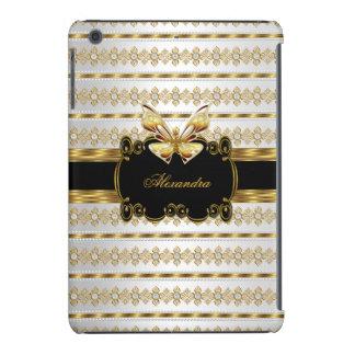 Elegant Gold Black White Jewel Stripe Butterfly iPad Mini Retina Cover