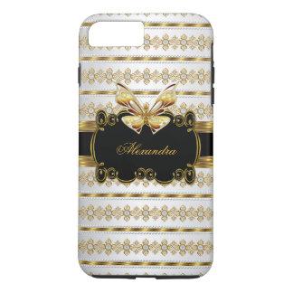 Elegant Gold Black White Jewel Stripe Butterfly iPhone 8 Plus/7 Plus Case