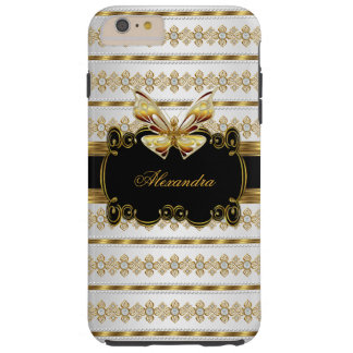 Elegant Gold Black White Jewel Stripe Butterfly Tough iPhone 6 Plus Case