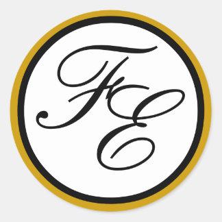 Elegant Gold Black & White Monogram Wedding Seal Stickers